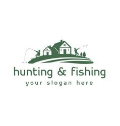 Hunting and fishing logo vector