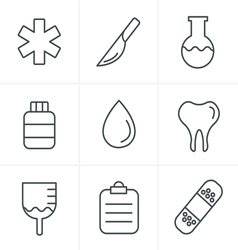 Line Icons Style Medical icons set of health and m vector image vector image