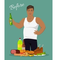Man before weight loss near the junk food vector