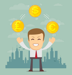 Man with coins with different currency symbols vector