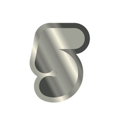 Number 5 steel metal font five silver alphabet vector