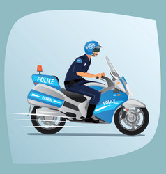 Police officer or policeman riding on motorcycle vector