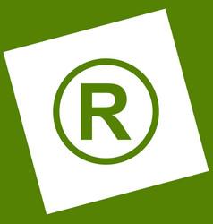 Registered trademark sign white icon vector