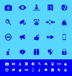 Security color icons on blue background vector