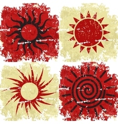 Set of different grunge sun backgound vector