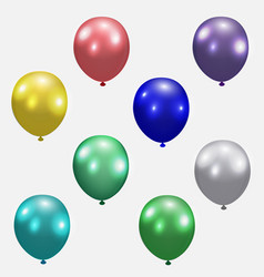 set of festive balloons realistic colorful vector image vector image