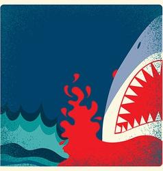 Shark jaws poster danger background vector image vector image
