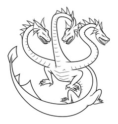 Simple hydra logo lineart design vector