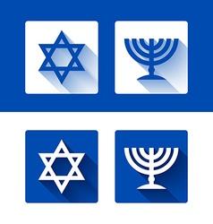 Star of david and menorah icons vector