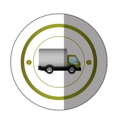 Sticker with circular shape with truck and wagon vector