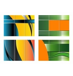 Tri-fold brochure design set vector