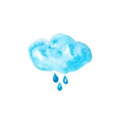 Watercolor cloud with drops vector image vector image