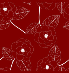 White camellia flower on red background vector