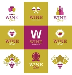 Wine logos icons signs and symbols vector image vector image