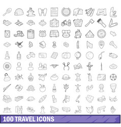 100 travel icons set outline style vector