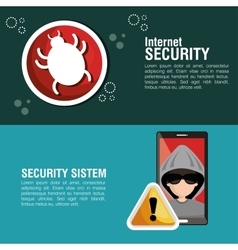 Internet security system smartphone hacker warning vector