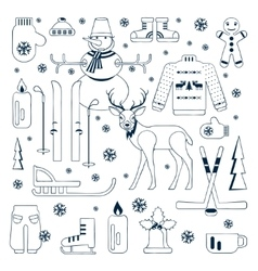 Set of unique winter icons vector