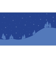 Silhouette of hill at night christmas landscape vector