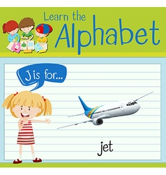Flashcard alphabet J is for jet vector image
