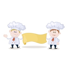 Cooks with poster vector