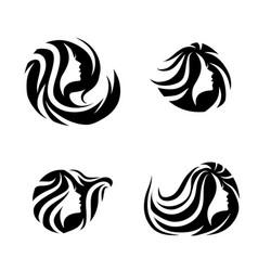 woman beauty hair spa salon logo design set vector image