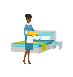African housekeeping maid with stack of linen vector
