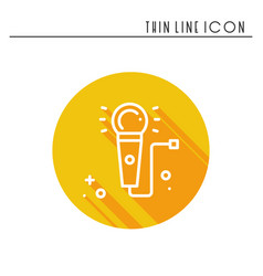 Microphone line outline icon voice record vector