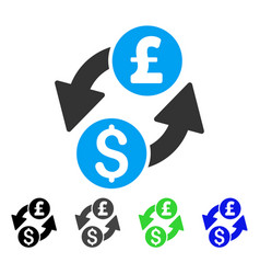 Dollar pound exchange flat icon vector