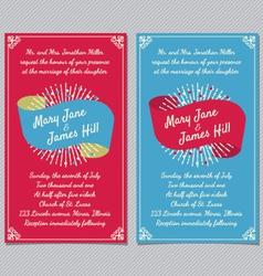 Wedding invitation with ribbon vector