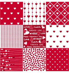 Seamless patterns valentines day vector