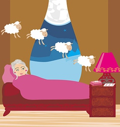 Old lady counting sheep to fall asleep vector