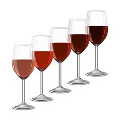 Glasses of wine on metal stand isolated on white vector