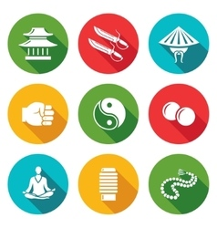 Wing chun icons set vector
