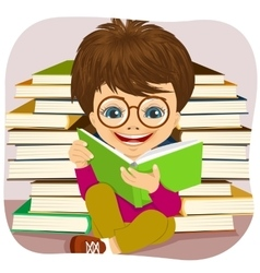 Little boy reading an interesting book vector