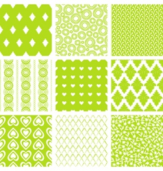Lime green patterns set vector