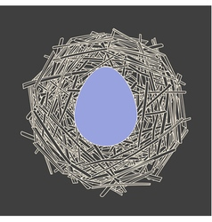Straw nest with big egg vector