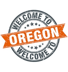 Welcome to oregon orange round ribbon stamp vector