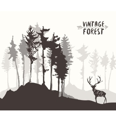 Forest design pine tree deer drawing sketch vector
