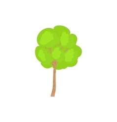 Green tree with a rounded crown icon vector