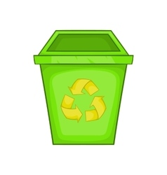 Eco dustbin icon cartoon style vector