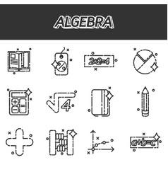 algebra icons set vector image vector image