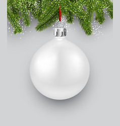 background with white christmas ball vector image