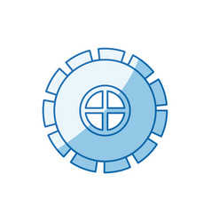 blue color shading silhouette gear wheel pinion vector image vector image