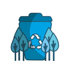 Blue recycle can with plants icon vector