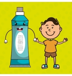 boy with toothpaste isolated icon design vector image
