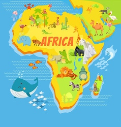 Cartoon map of africa with animals vector image