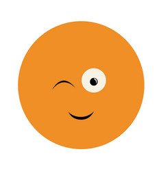 Colorful emoticon winking face expression vector