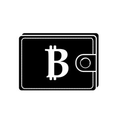 Contour bitcoin symbon in the wallet to save money vector
