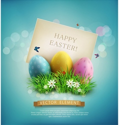 Easter eggs in green grass with white flowers vector image vector image