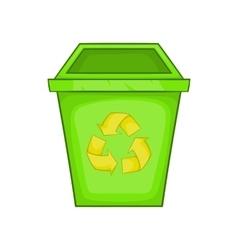Eco dustbin icon cartoon style vector
